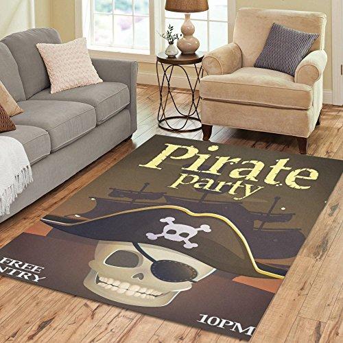 InterestPrint Gogogosky Custom Pirate Party Invitation Area Rug Floor Rug Room Carpet 7'x5'