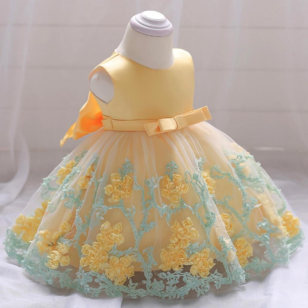 75d454ac K-youth Vestido Niña Vestido de Encaje Sin Mangas Tutú Princesa ...