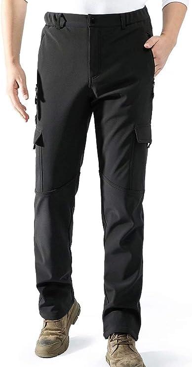 AOLI RAY Mens Waterproof Fleece Lined Warm Softshell Trousers Walking Hiking Ski Overtrousers