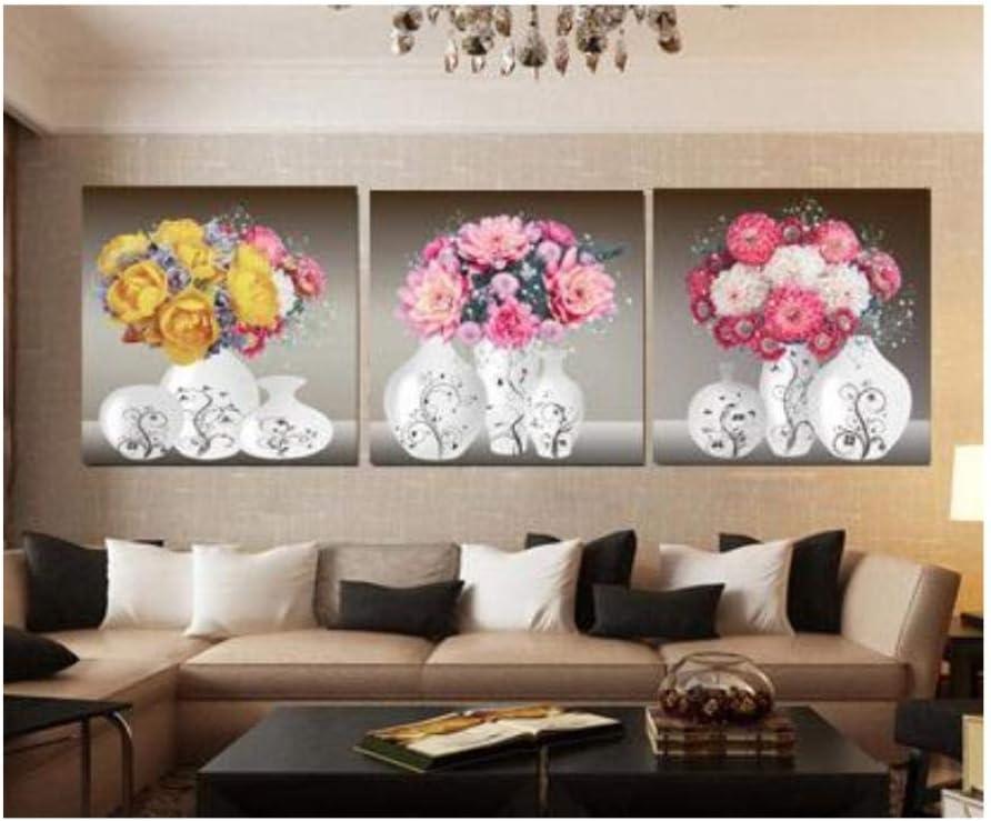 ZPANPAN 3Ps Bodegón Moderno de Flores y Vino, Cuadros de Arte de Pared de Cocina de Pintura de Lienzo, decoración del hogar sin marco-50X70 cm