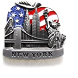 Big Apple U.S Flag New York Souvenir Fridge NY Magnet - US Flag,Statue of Liberty,Empire State Building,Brooklyn Bridge,NYC Magnet Metal (Pack 1)