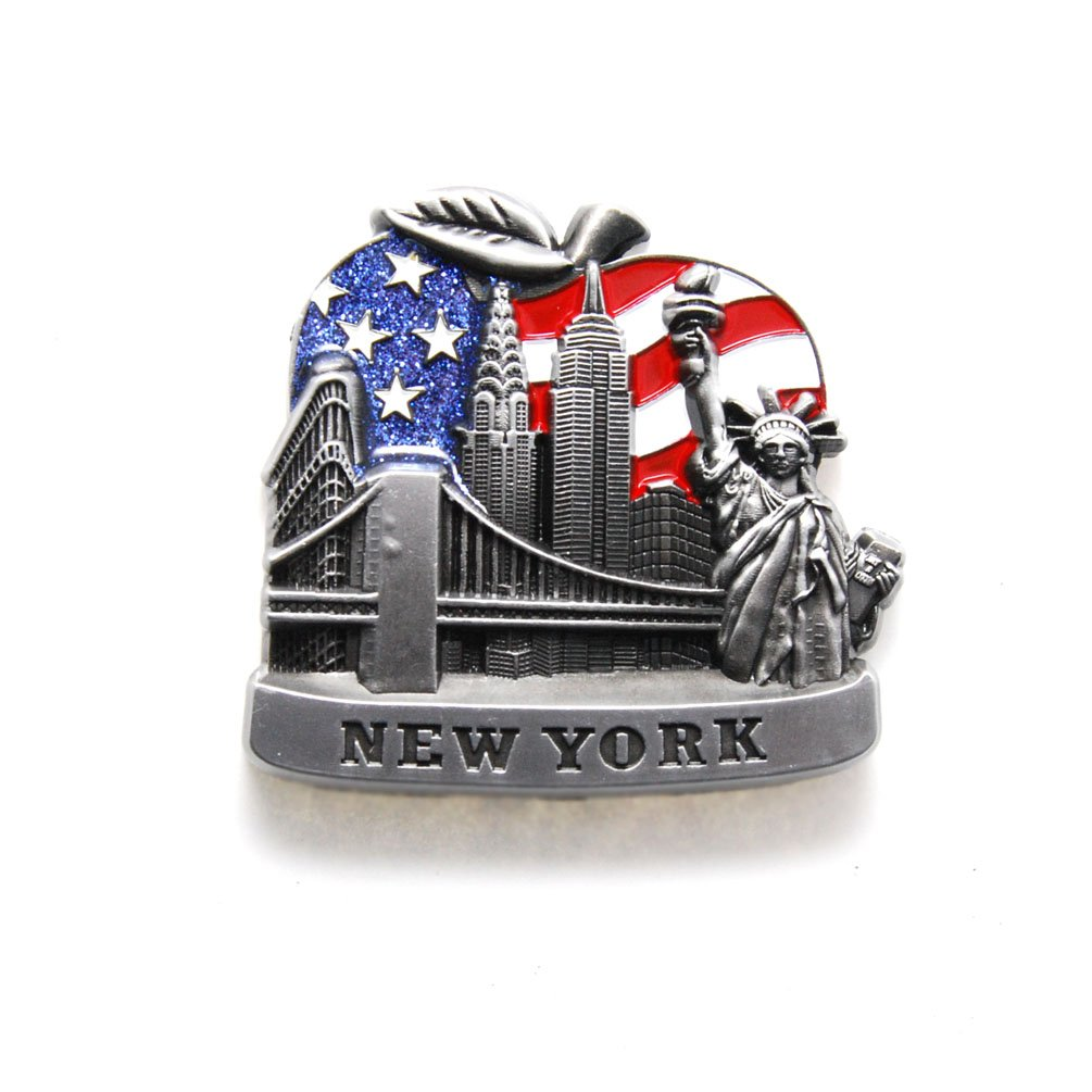 Big Apple U.S Flag New York Souvenir Fridge NY Magnet - US Flag,Statue of Liberty,Empire State Building,Brooklyn Bridge,NYC Magnet Metal (Pack 1)
