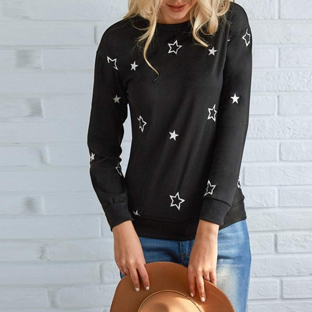 Poachers Jersey Mujer oto/ño 2019 Jersey Lana Mujer Invierno Colores Abrigos Mujer Invierno Rebajas Desigual Sudaderas Tumblr Adolescentes Chicas Top Bordado de la Estrella de Moda Mujeres Camiseta