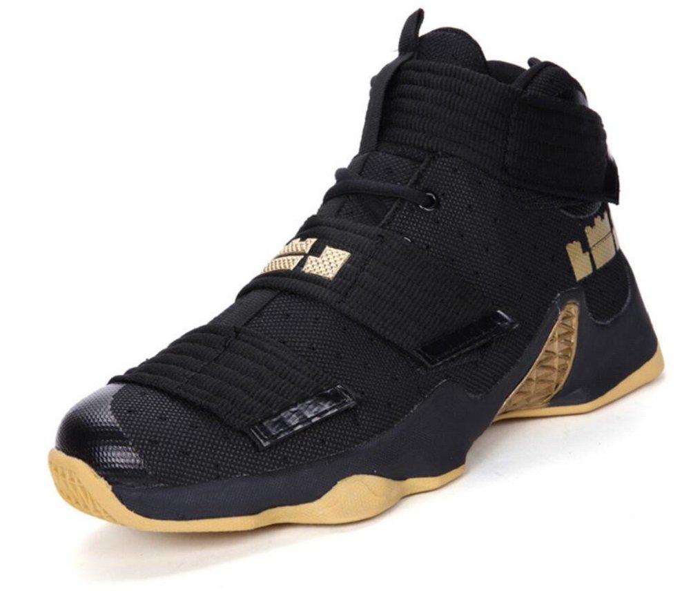 JiYe Men's Basketball Shoes for Women's Performance Sports Velcro Sneakers by B075F5T9RZ 9.5 US-Women/8 US-Men/Foot Length 25.5CM|Black Yellow-1