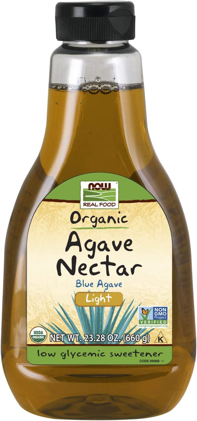 NOW Foods, Certified Organic Light Agave Nectar, Blue Agave, Certified Non-GMO, Low-Glycemic Sweetener, Kosher, 23.2-Ounce