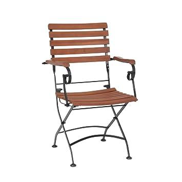 greemotion Lot de 2 chaises pliantes de jardin Borkum – Chaise de jardin en  bois d\'acacia et métal solide - Chaise avec accoudoir marron et noire – ...