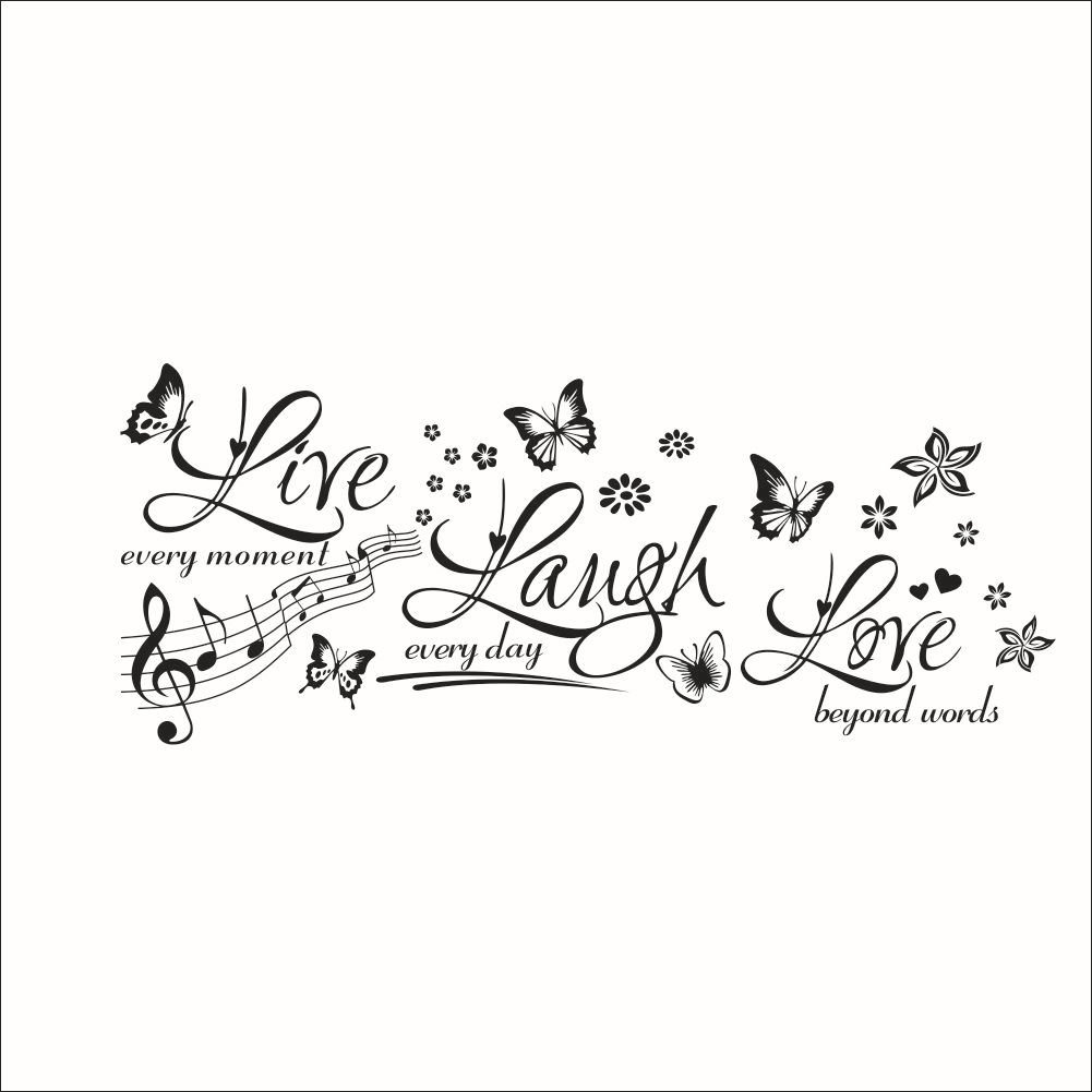 Lkous Live Every Moment, Laugh Every Day, Love Beyond WordsWall Famous PVC Wall Sticker Decal Quote