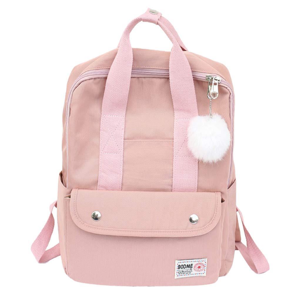 Xlala Mens Womens Nylon Backpack Casual Zipper Waterproof Large Capacity Solid Color Schoolbag Single Shoulder Bags Laptop Packages Travel Packs Handbags (Pink) by Xlala