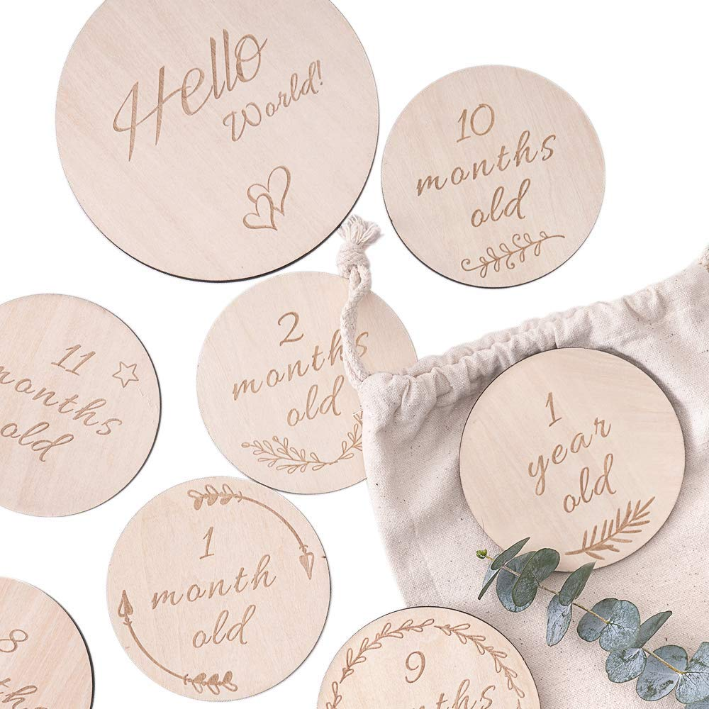 Kisangel 1 Set Wooden Baby Monthly Milestone Cards Unfinished Wood Discs Newborn Photography Props for New Year Baby Infants