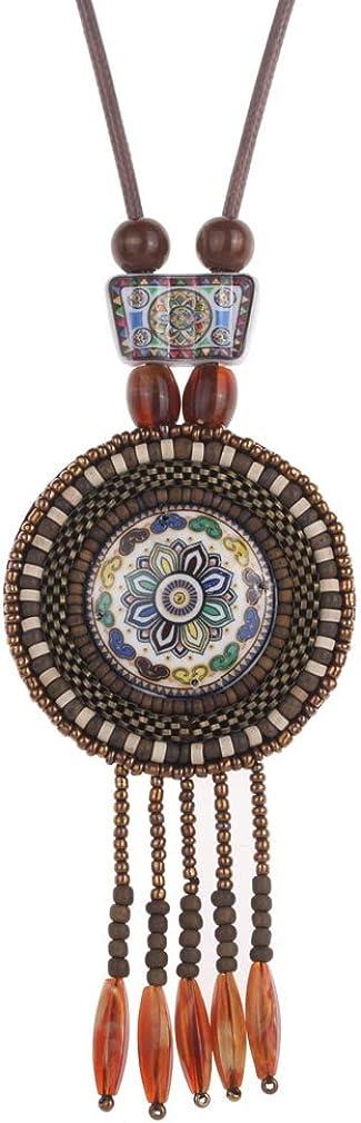 YAZILIND las Mujeres retras Granos de cerámica de India étnicas Declaración de Boho de la Borla Colgante Collar de Accesorios de la joyería Regalos