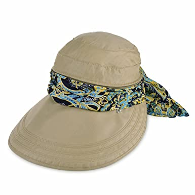 Vbiger Visor Hat for Women Wide Brim Cap UV Protection Summer Sun Hat One  size Khaki 4ae910d20f7c