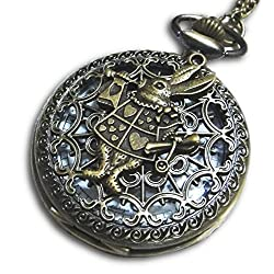 Steampunk Alice in Wonderland White Rabbit Retro Pocket Watch Necklace (Brass)