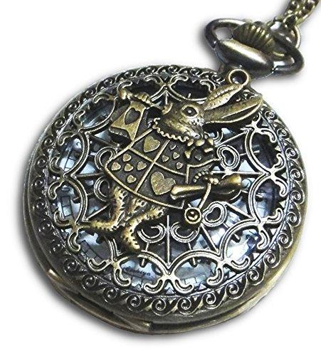 - Steampunk Alice in Wonderland White Rabbit Retro Pocket Watch Necklace (Brass)