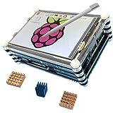 """Haiworld pack de 3 Pour Raspberry 3 b / 2b : 3.5"""" TFT écran tactile + 9 couches boitier + dissipateurs"""