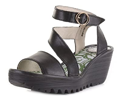 95db73ade03 Fly London Women s Yesk Rug Leather Wedge Sandals Black (8)  Amazon ...