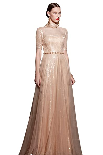 Coniefox Womens Spring Champagne Halter Half Sleeves Lace Prom Dress ...