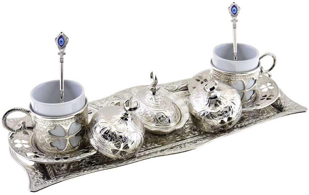 Clover Design Brass Premium Turkish Greek Arabic Coffee Espresso Serving Set for 2,Cups Saucers Lids Tray Delight Sugar Dish 11pc (Silver)