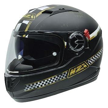 NZI 050286G718 Eurus S Graphics SV Meta Casco de Moto, Blanco, Negro y Dorado