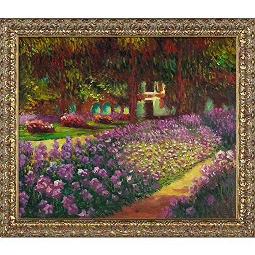 La Pastiche overstockArt Artist's Garden at Giverny Painting with Golden Oak Leaf Frame by -
