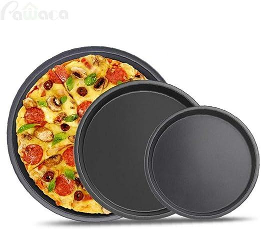 AMOYER Bandeja De Pizza Pan Pizza Juego para Hornear De Acero Carbono Antiadherente De Cocina Molde De Horno Redondo: Amazon.es: Hogar