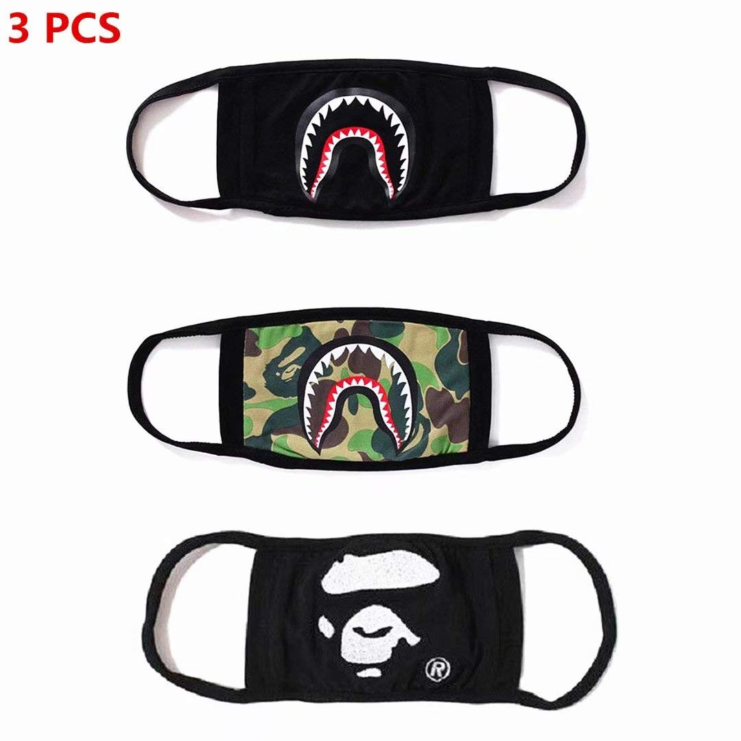 NF orange 3 Pack Bape Bathing Ape AAPE Shark Black Camouflage Mouth Face Mask Cotton Mouth-Muffle by NF orange