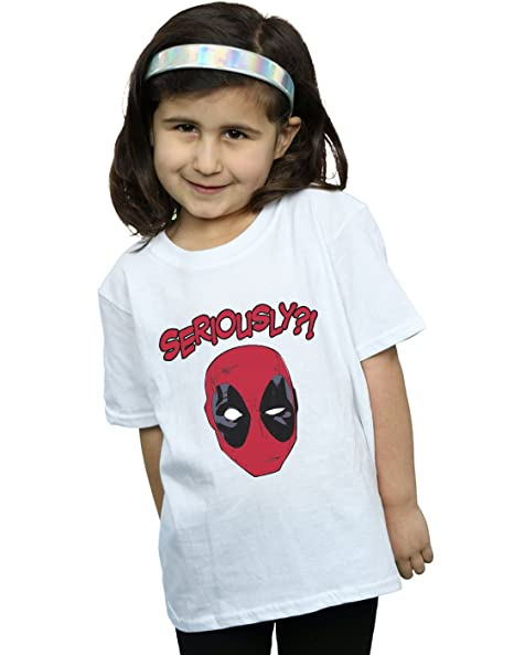 a143d28bc Amazon.com: Marvel Girls Deadpool Seriously T-Shirt White 9-11 Years ...