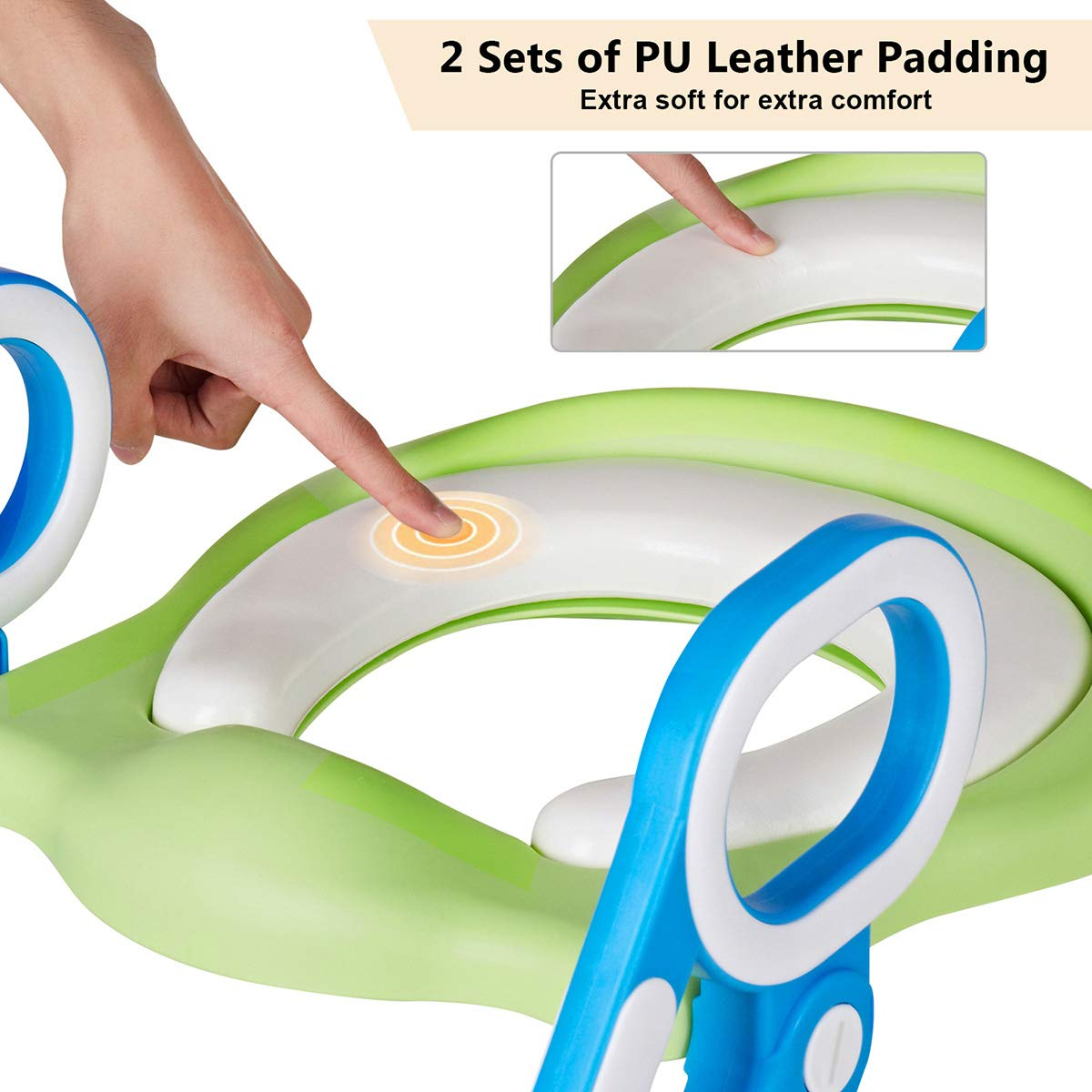 VETOMILE Baby Potty Toilet Trainer Seat for Children Kids Toddles with Adjustable Sturdy Non-Slip Step Stool Ladder and 2 PU Leather Replaceable Soft Padding Suitable for O V U Shaped-Toilets