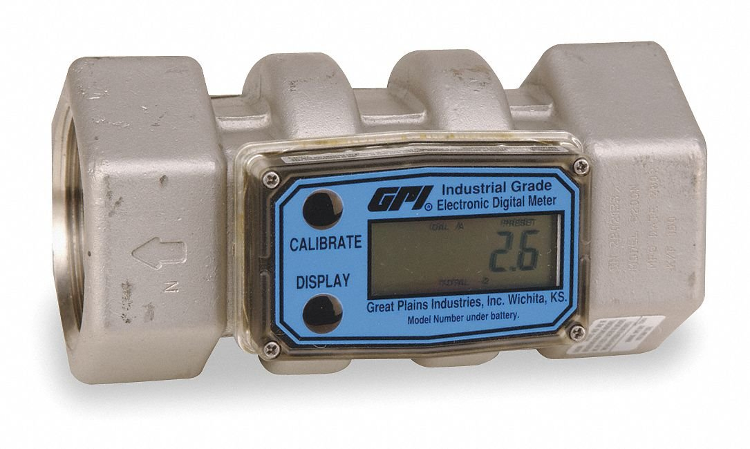 Turbine 2 FNPT Electronic Flowmeter, Stainless Steel, 20 to 200 gpm