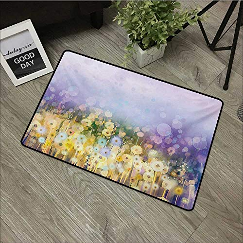 (Anzhutwelve Flower,Office Floor mats Chamomile and Dandelion Field Meadow Landscape in Contrasting Colors Idyllic View W 24