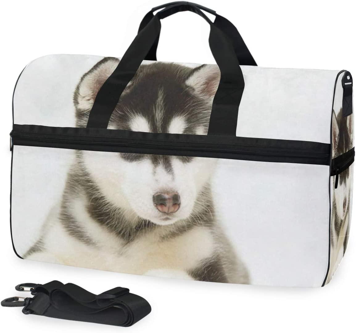 Naughty Husky Duffel Bag Vintage Weekender Overnight Bag Travel Tote Luggage Sports Duffle