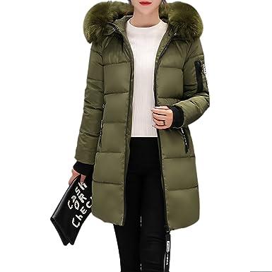 e6e86c1f4fb6 Amazon.com  Rela Bota Women s Winter Thicken Puffer Coat Fur Trim Hooded  Parka Jacket Long Overcoat Medium Army Green  Clothing