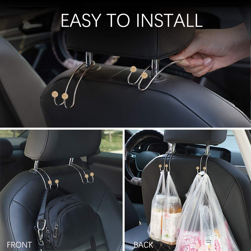Champagne Car Hooks 2 Pack Artscope Multifunctional Organizer Hooks Universal Bling Diamond Car Headrest Hangers Hooks for SUV Truck Vehicle Strong and Durable Auto Backseat Hanger Storage