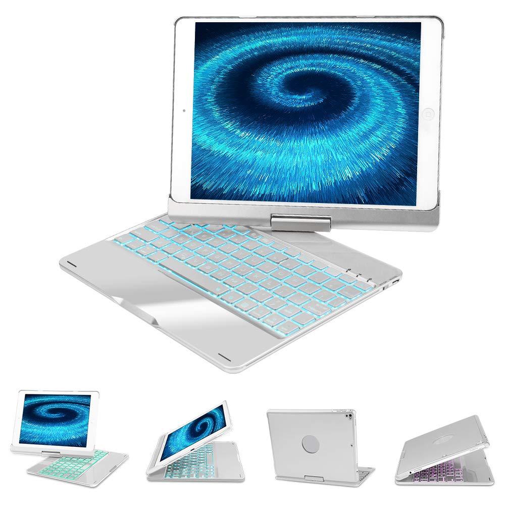 iPad 9.7用のBoriyuanキーボードケース、iPad 2018(6th Gen)、iPad 2017(5th Gen)、iPad Pro 9.7、iPad Air 2および1、バックライト付き7色360回転式ワイヤレス&BTキーボード(シルバー)   B07NWHRGK4