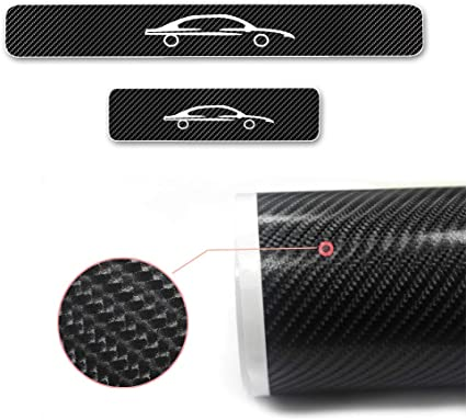 For Fiesta 4D M Car Pedal Covers Door Sill Protectors Entry Guard Scuff Plate Trims Anti-Scratch Reflective Carbon Fiber Stickers Auto Accessories Exterior Styling 4Pcs Blue