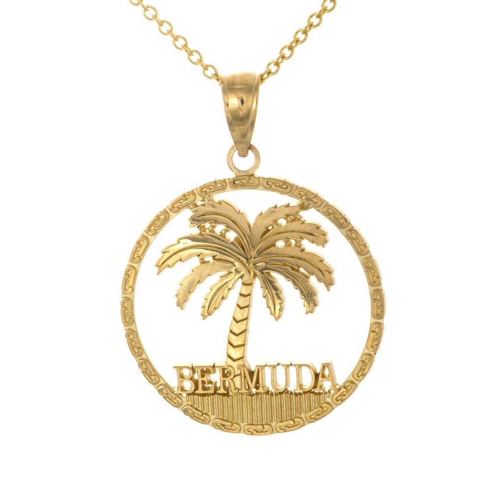 14k Yellow Gold Travel Pendant Necklace, Bermuda Under Palm Tree In Round Frame