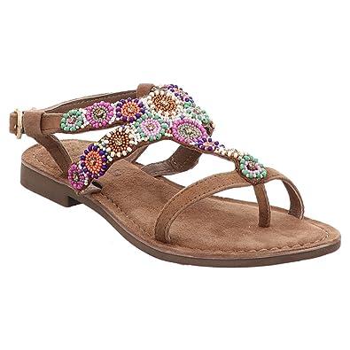 34de1d094b91 Lazamani Sandale   Zehentrenner   Perlen - Beige   Taupe, Farbe Beige Größe