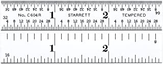 "product image for Starrett C604R-3 Spring Tempered Steel Rule With Inch Graduations, 4R Graduations, 3"" Length, 9/16"" Width, 3/64"" Thickness"