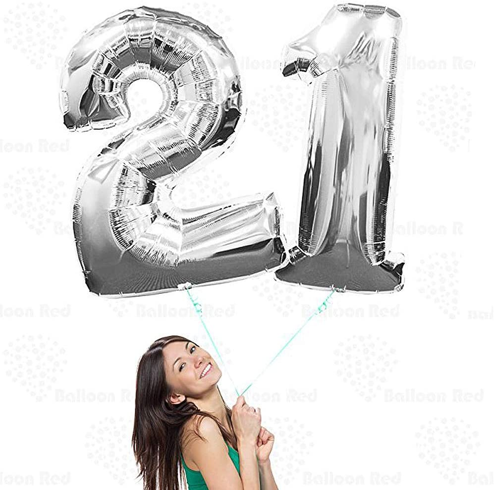 BoomYou Large Foil Mylar Balloons 40 Inch Silver Number 14 Balloons Giant Jumbo Birthday Balloons for Birthday Party Decorations Silver #14