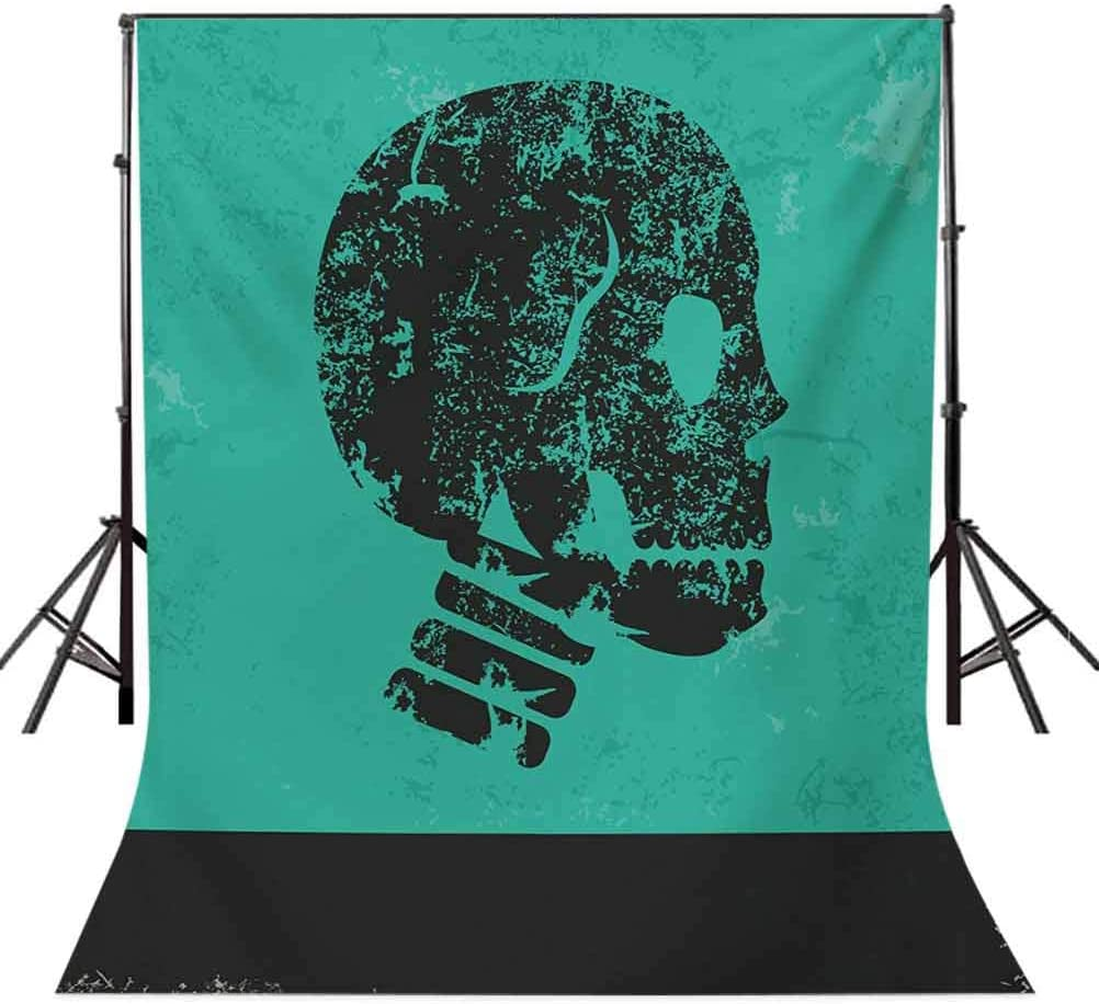 Human Skeleton Theme Abstract Art Skull Design Illustration Artwork Print Background for Baby Shower Bridal Wedding Studio Photography Pictures Jade Green and Bla Skull 10x15 FT Photography Backdrop