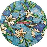 Precut Circle Orchid Decorative Window Film, Self Static Adhesive Cling, 32 inches diameter