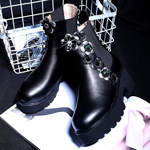NSXZ Round head rough with waterproof leather flower female boots BLACK-90160CM KIZbzl