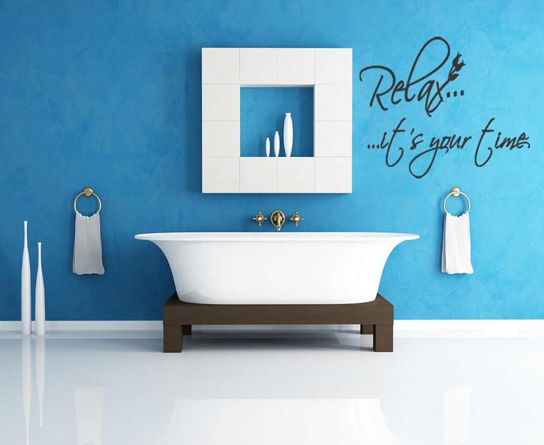 Relax It\'s Your Time Bathroom Vinyl Wall Art Stickers Large Quotes Removable Letters design quotes