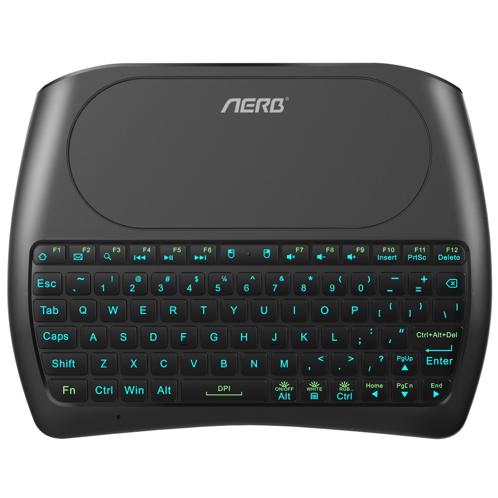 (2018 D8 Pro) Aerb Backlit Mini Wireless Keyboard with Large Touchpad Mouse, Rechargable Li-ion Battery & Multi-Media Handheld Remote for PC/Google Android TV Box and More