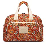Malirona Canvas Overnight Bag Women Weekender Bag Carry On Travel Duffel Bag Floral (Red Flower)