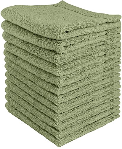 Utopia Towels Luxury Cotton Washcloth Towel Set (12 Pack Sage Green 12 x 12 Inches) Multi-purpose Extra Soft Fingertip towels, Highly Absorbent Face Cloths, Machine Washable Sport and Workout Towels