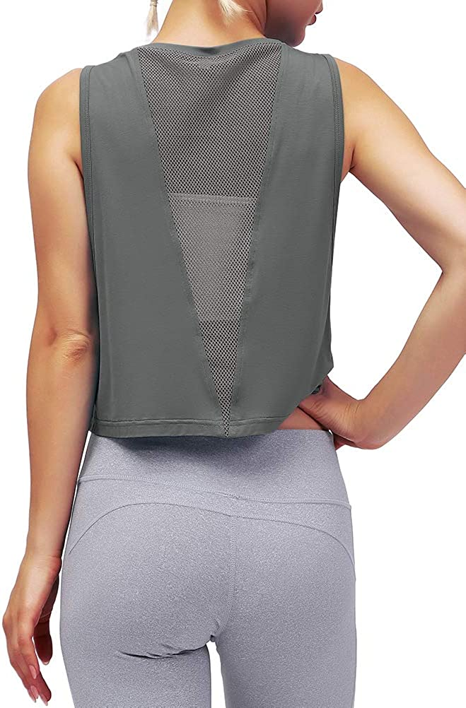 Mippo Cropped Workout Tops for Women Mesh Back Womens Workout Tops Muscle Tank at  Women's Clothing store