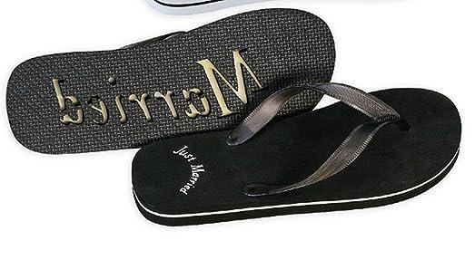 Just Married Flip Flops for Men in Black