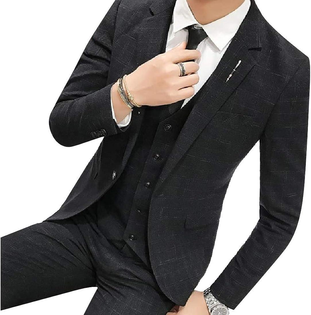 Abetteric Mens 3 Pieces Suit Tailored Fit British Style Jacket Vest /& Pants