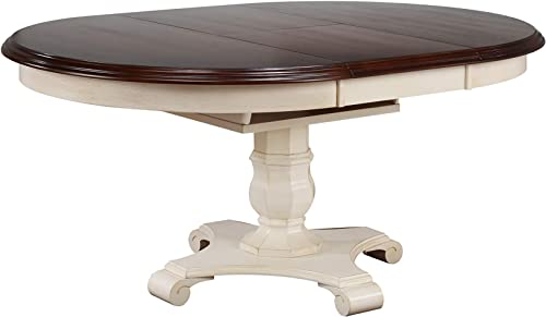 Sunset Trading Andrews Dining Table, Antique White and Distressed Chestnut