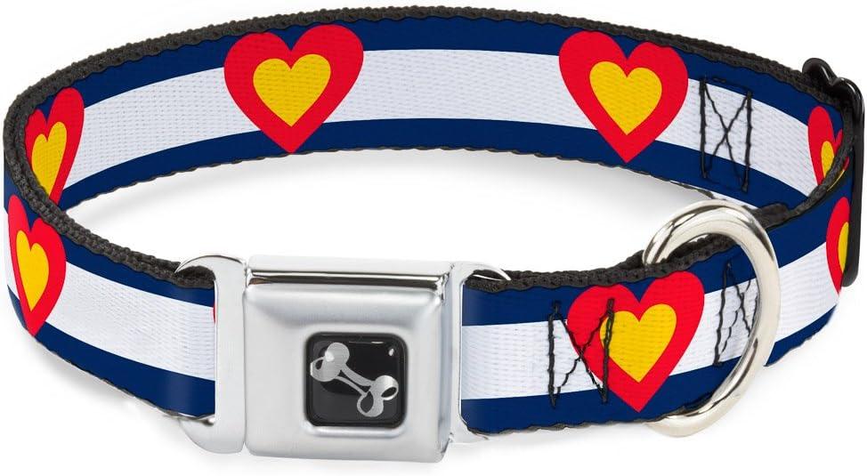 supreme Buckle-Down Seatbelt Buckle Dog Collar Blue Colorado - Whi New life Heart
